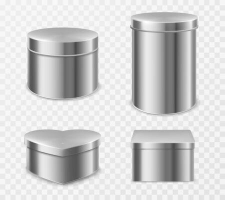 Cajas metálicas de hojalata para té, caramelos o café. Maqueta realista de vector de latas redondas, cuadradas y en forma de corazón pequeñas y altas para envasar productos secos y dulces aislados sobre fondo transparente Ilustración de vector