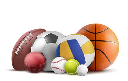 Soccer, volleyball, baseball and rugby equipment. Vector realistic collection of cricket, tennis and other sports objects isolated on white background Ilustrace