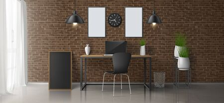 Home workplace, office room 3d realistic vector minimalistic design or loft style interior with laptop on work desk, blank paintings, photo frames on brick wall, hanging lamps, flowerpots illustration
