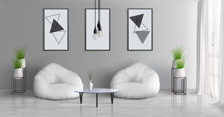 House hall, modern apartment sunny living room 3d realistic vector interior with coffee table near two beam bag chairs in middle of room, paintings, photo frames on grey wall, flowerpots illustration Vektoros illusztráció