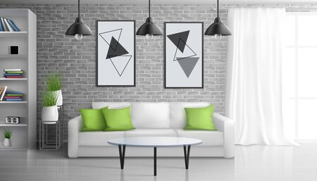 Apartment living room, open office lounge area interior realistic vector background with coffee table near sofa, paintings on brick wall, bookshelves, hanging from ceiling vintage lamps illustration Ilustrace