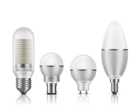 Modern, different shape and base types LED bulbs with heat sinks 3d realistic vector set isolated on white background. Powerful, high efficient, longer lifespan lamps, light equipment illustration Ilustrace