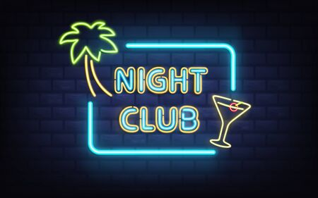 Tropical resort night club, cocktail bar or pub vintage style, retro illumination signboard glowing in darkness with bright, blue neon lights on brick wall background realistic vector illustration