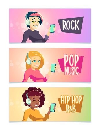 Female music lower cartoon vector banners set with brunette, blond caucasian and curly african american women listening rock, pop, hip hop and R B music with headphones and cellphone illustration