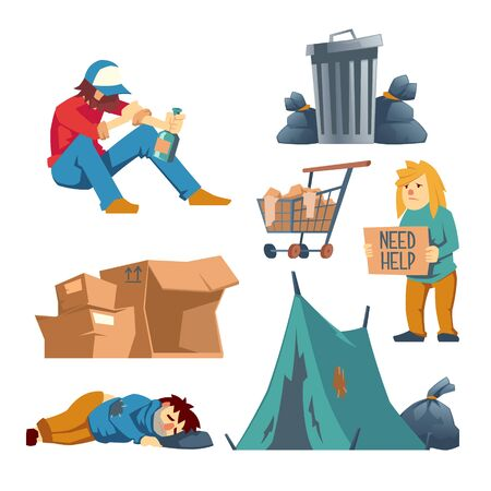 Homeless female, male characters cartoon vector set isolated on white background. Poor people asking help, begging alms, sitting drunk with bottle of alcohol, lying and sleeping on street illustration
