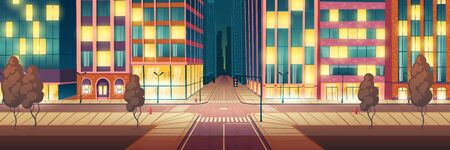Night metropolis illuminated, empty street cartoon vector background with skyscrapers, stores and cafes glowing showcases, city road crossing with crosswalk and traffic lights, sidewalk illustration