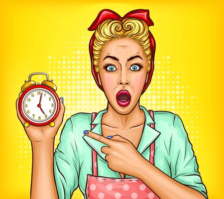 Bad memory and forgetfulness, lack of time for housework pop art vector concept. Shocked housewife in handkerchief, apron pointing on retro alarm clock illustration. Time to hurry on sale ad banner