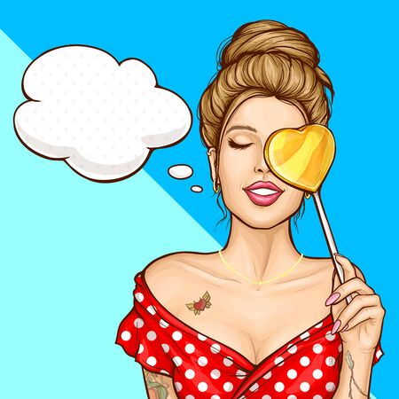 Imagining amazing future pop art vector concept. Tattooed woman with lollipop candy in shape of heart, dreaming about something pleasurable with closed eyes pin up illustration. Shop sale ad banner