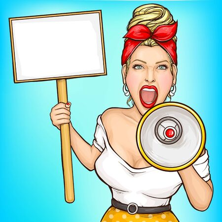 Shop sale pop art vector banner template with blond woman screaming in loudspeaker, holding signboard, placard on stick, advertising something, attracting attention to problem, news. Female protester