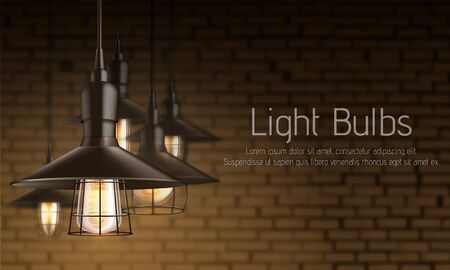 Light equipment store 3d realistic vector ad banner template. Vintage incandescent lamps bulbs with heated filament in black metal lattice cage hanging from above illustration on brick wall background Ilustrace