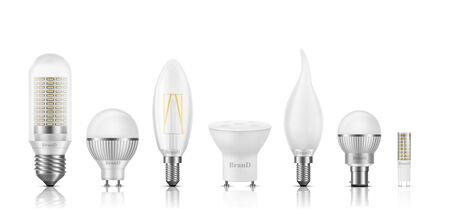 Different shape, size, base and filament types LED bulbs 3d realistic vector set isolated on white. Powerful, high-efficient, long lifespan lamps with matted, transparent glass, heat sink illustration