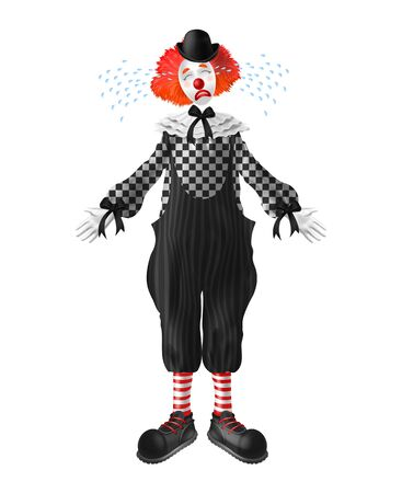 Crying red-hair clown with tears squirting from eyes, red nose and makeup on face, wearing bowler hat, checkered shirt, wide-leg pants and boots realistic vector character isolated on white background