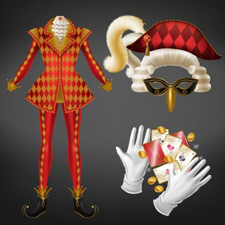 Joker costume elements realistic vector set with checkered red jacket, bicorne hat decorated fluffy feather, mask and wig, twisted toe shoe, white gloves, playing cards, golden coins illustration Ilustrace