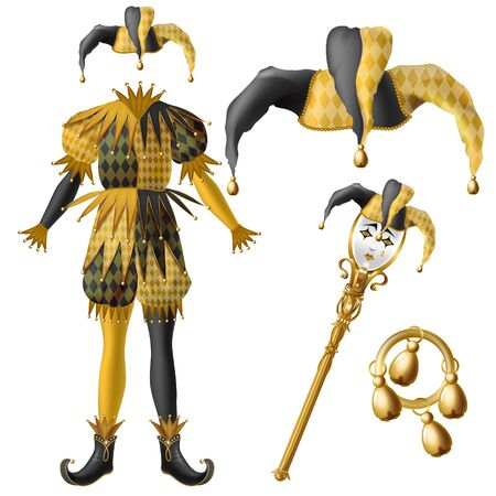 Medieval jester costume elements, checkered, black and yellow colors hat with bells, golden scepter with crying fool or clown face and tambourine 3d realistic vector isolated on white background