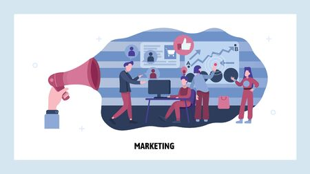 Marketing team work on business strategy. People work in office, teamwork communication. Vector web site design template. Landing page website concept illustration