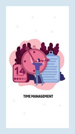 Time management concept. Man set the clock Business schedule and calendar. Vector web site design template. Landing page website concept illustration.