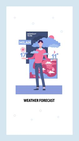 Weather forecast anchor on television news. Meteorologist reports weather. Vector web site design template. Landing page website concept illustration. Vettoriali