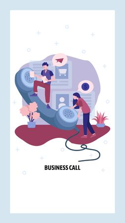 Business call concept. Phone operators help customer in support center. Business conversation by telephone. Vector web site design template. Landing page website concept illustration.