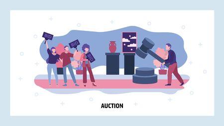 Auction business concept. People make bid in public auction house. Vector web site design template. Landing page website concept illustration.