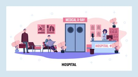 Patients waiting for doctor in front of x-ray room in hospital. Healthcare and medical service. Clinic interior. Vector web site design template. Landing page website concept illustration.