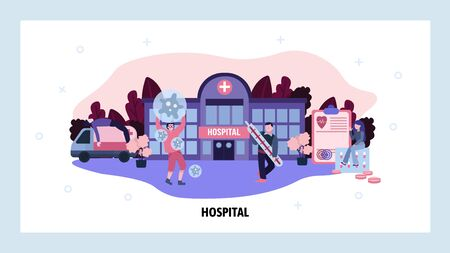 Virus epidemic concept. Hospital doctors fight infection. Ambulance car, sick patients. Medical care and health. Vector web site design template. Landing page website concept illustration. Stock Illustratie