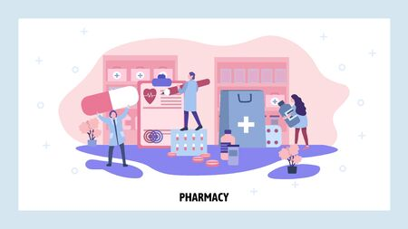 Pharmacy store concept. Online drugstore, doctor and nurse in hospital with prescription drugs. Vector web site design template. Landing page website concept illustration.