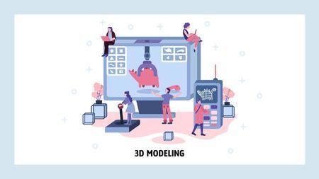 Movie computer graphic CGI and 3d modeling. Team of engineers work on 3d model of dinosaur. Volume rendering technology. Vector website design template. Landing page website concept illustration Векторная Иллюстрация