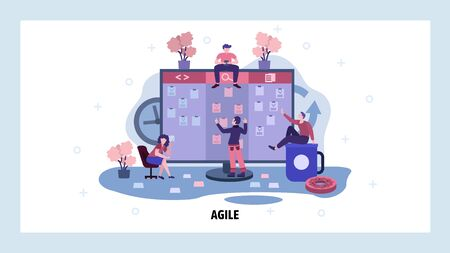 Team work on project and check tasks on big kandan board. Agile and scrum board business management. Teamwork concept. Vector web site design template. Landing page website illustration.