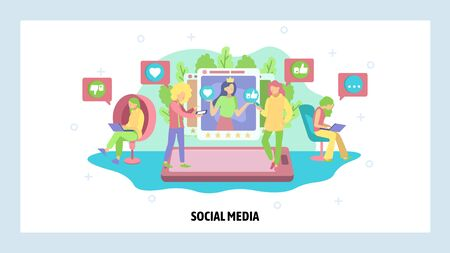 Social media and photo sharing technologies. People follow blogs, share, likes, post comments using mobile phone. Vector web site design template. Landing page website illustration