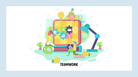 Teamwork concept. People build puzzle together. Partnership, team work, business strategy, office management. Vector web site design template. Landing page website illustration