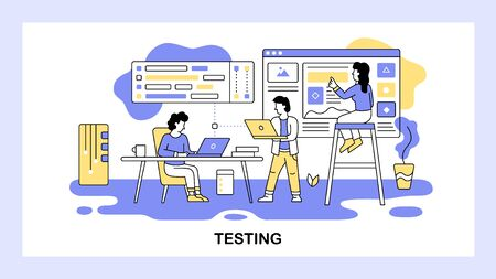 Software development team work together. Developer testing new software. Dashboard, analysis, teamwork, programmer, technology. Vector web site design template. Landing page website illustration.