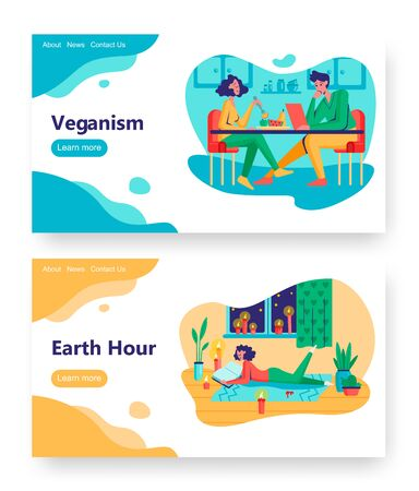 Vegan couple eat fruits and vegetables in restaurant. Earth hour concept illustration. Young girl read book with candle light. Vector web site design template. Landing page website illustration