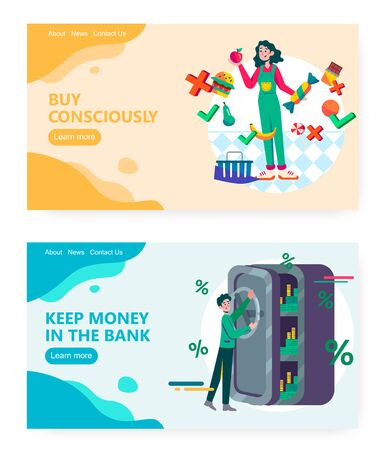 Saving money in a bank, money safe box, consious eating. Healthy food, fruits. Concept illustration. Vector web site design template. Landing page website illustration Stock Illustratie