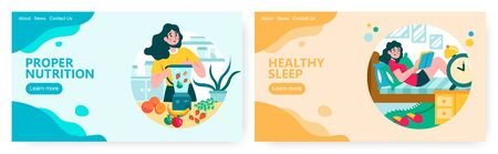 Woman make berry and fruit smoothie in blender. Young girl read book in her bed at home. Healthy lifestyle concept illustration. Vector web site design template. Landing page website illustration.
