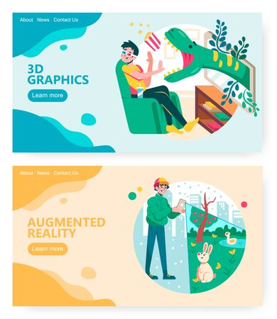 Man watches 3d movie in home cinema theater. Guy plays augmented reality game in a park. Concept illustration. Vector web site design template. Landing page website illustration Ilustración de vector