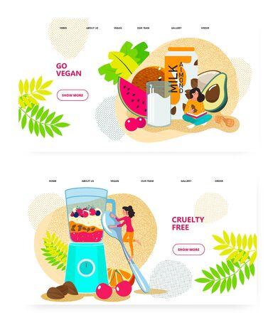 Vegan food and berry smoothie. Almond milk, fruits, blender, cruelty free food. Concept illustration. Vector web site design template. Landing page website illustration.