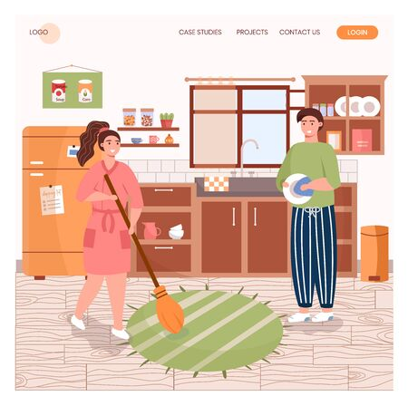 Family clean kitchen and wash dishes together. House cleaning concept illustration. Vector web site design template. Landing page website illustration.