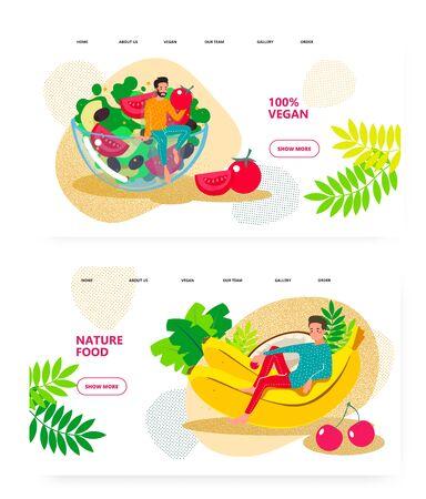 Vegan food, vegetarian salad, natural organic meal. Man sit on salad bowl. Banana, tomato. Concept illustration. Vector web site design template. Landing page website illustration