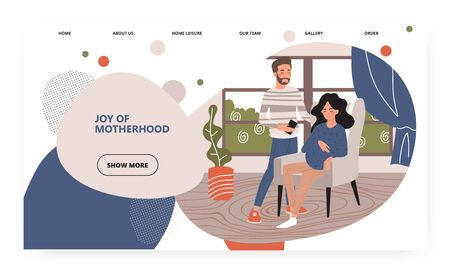 Happy family expecting baby. Pregnant woman stay with her partner at home. Pregnancy and parenthood concept illustration. Vector web site design template. Landing page website illustration