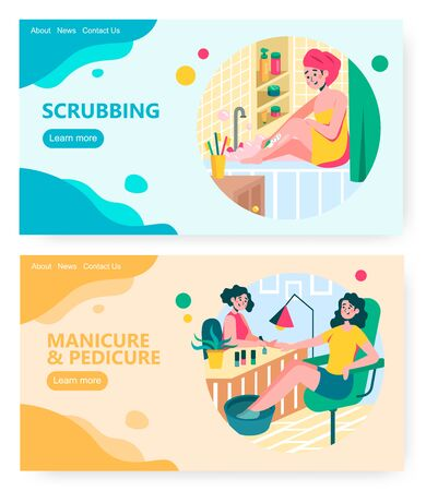 Woman applying cosmetic body scrub at home bathroom. Girl come to beauty salon to make manicure. Concept illustration. Vector web site design template. Landing page website illustration 向量圖像