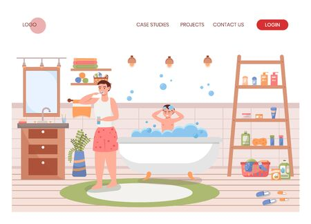 Father and son do morning hygiene routine together in bathroom. Man tooth brushing, boy bathing in bath tub. Concept illustration. Vector web site design template. Landing page website. Vettoriali