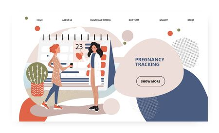 Pregnant woman check calendar with doctor in clinic. Pregnancy week tracking concept illustration. Vector web site design template. Landing page website illustration.
