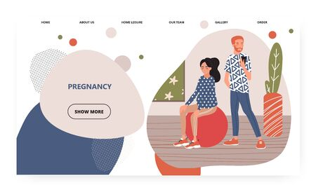 Husband helps his wpregnant wife to exercise with fitness ball. Pregnancy concept illustration. Vector web site design template. Landing page website illustration.