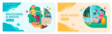 Man eat popcorn and watch movie at home. Woman read book at home. Leisure time and quarantine concept illustration. Vector web site design template. Landing page website illustration