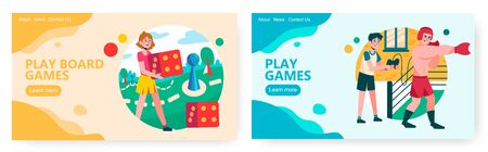 Girl plays board game and roll the dice. Guy uses controller to play boxing video game. Concept illustration. Vector web site design template. Landing page website illustration