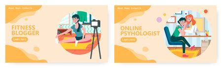 Fitness blogger gives lessons online. Psychology counseling and mental support in stress situation concept illustration. Vector web site design template. Landing page website illustration.