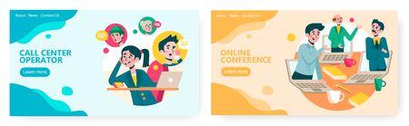 Online video conference, business team communication. Call center operator. Online video chat concept illustration. Vector web site design template. Landing page website illustration