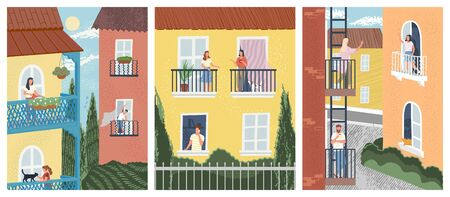 Building facade with people on balconies. Men and women talking to neighbours, exercise, watering flowers. Concept of neighbors in quarantine. Vector illustration