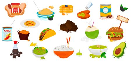 World cuisine food and meals icons isolated on white background. Vector illustration. Vegetarian and healthy food menu.
