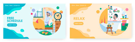 Weekend and day off time concept illustration. Vector web site design template. Landing page website illustration. Man wakes up without alarm clock. Man taking bath and sing a song. Relax, free time. Illusztráció